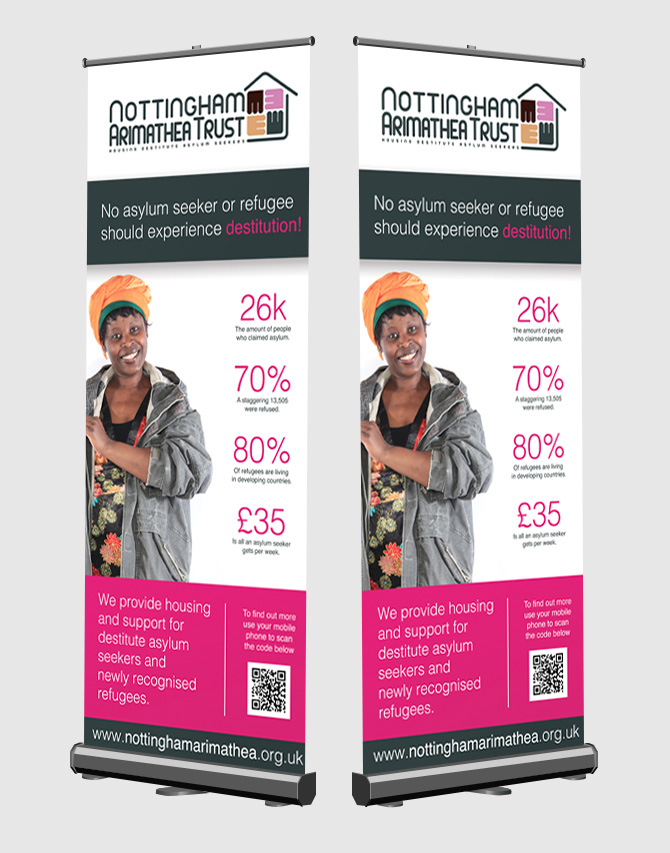 The New Nottingham Arimathea Trust Pop Up Banner