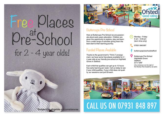 Flyer Design for Buttercups Preschool in Stafford